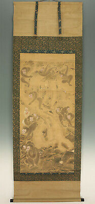 "掛軸1967 JAPANESE HANGING SCROLL ""Many Monkeys""  @f160"