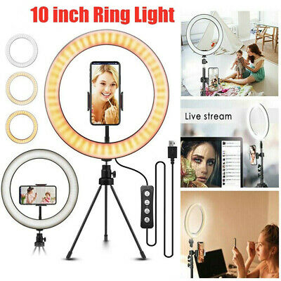 "10"" Phone Selfie LED Ring Light Stand Tripod Dimmable For Makeup Video Youtube"