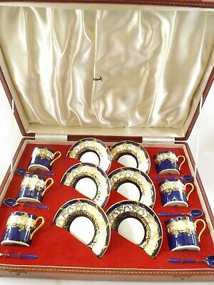 Set Of Six Cups & Saucers With Silver & Enamel Spoons / Birmingham 1972 /Harrods