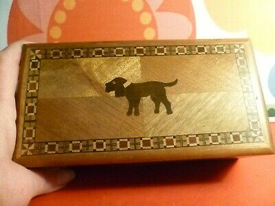 Vintage Art Deco Wooden Inlay Box Dog Pattern Made in Japan
