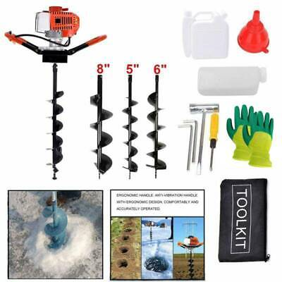 52CC Post Hole Digger Gas Powered Earth Auger Borer Fence Ground+3 Drill Bit USA