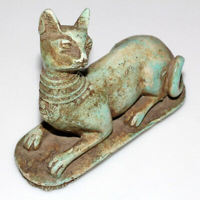 Very Rare Egyptian Glazed Colored Cat Statue - Large Size