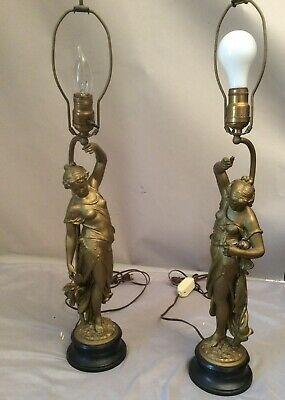 Pair Antique Ansonia Swinger Clock Statues Garniture Female Spelter Figure Lamp