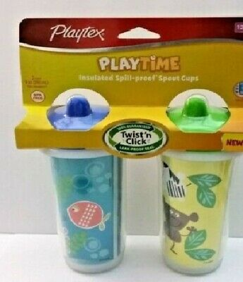 Playtex Playtime Twist n Click 2pk Baby Toddler Spout Sippy *Assorted Designs*