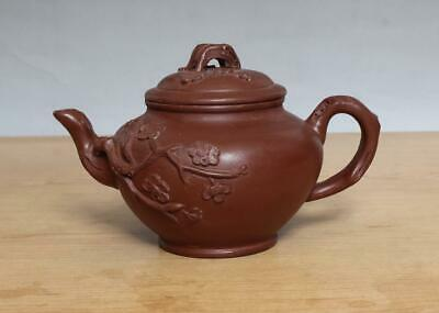 Yixing Signed Old Chinese Handmade Zisha Teapot With Plum blossom