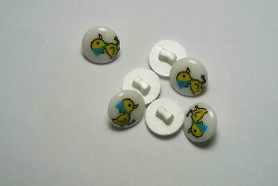10pc 13mm White With Yellow Duck Cardigan Trouser Shirt Kids Baby Button 0509