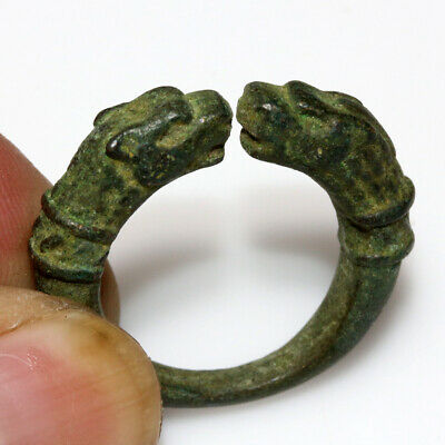 Ancient Greek Bronze Ring With Beast Heads Circa 300-100 Bc