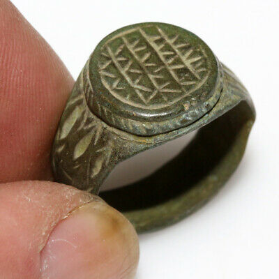 A Perfect Ancient Late Roman Bronze Decorated Ring Circa 400 Ad