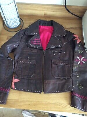 Unworn Girls M&S brown real leather COAT BIKER JACKET age 7-8 years embellished