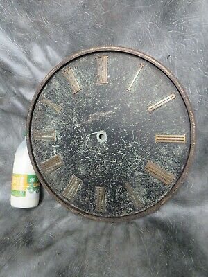 A GOOD LARGE 40cm CLOCK DIAL MADE FROM ALUMINIUM PLATE WITH BRASS ROMAN NUMERALS