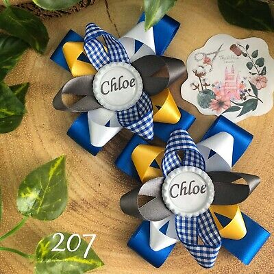 x2 Personalised handmade school hair bows clips bobbles accessories girls boys