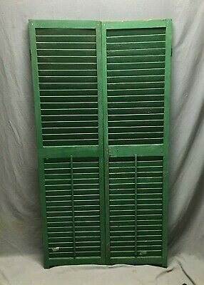 Pair Vtg House Window Wood Louvered Shutters 17X65 Shabby Old Chic Green 482-20B