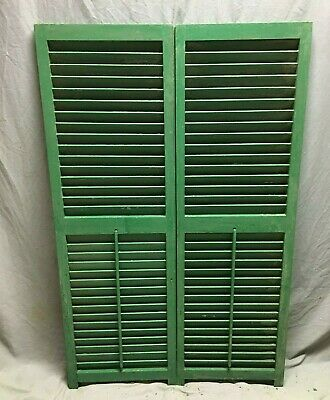 Pair Vtg House Window Wood Louvered Shutters 17X54 Shabby Old Chic Green 487-20B