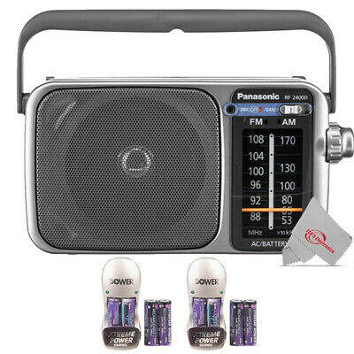 Panasonic RF-2400D Portable FM/AM Radio with AFC Tuner + 8 Batteries and Charger