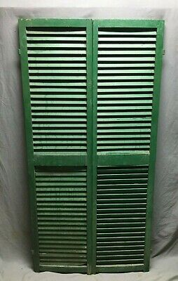 Pair Vtg House Window Wood Louvered Shutters 17X70 Shabby Old Chic Green 492-20B