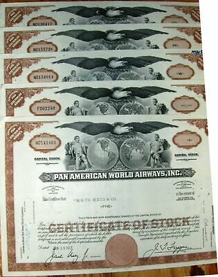 Dealers lot 10 Pan Am World Airways stock certificates brown B46