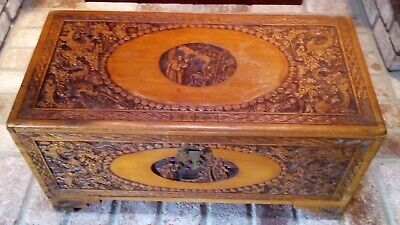 Unique and beautiful!! Antique Chinese Camphor Hand Carved Chest with Dragons