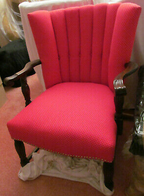 HEART FURNITURE - 1850's Upholstered Red Wingback Chair w/Small White Hearts