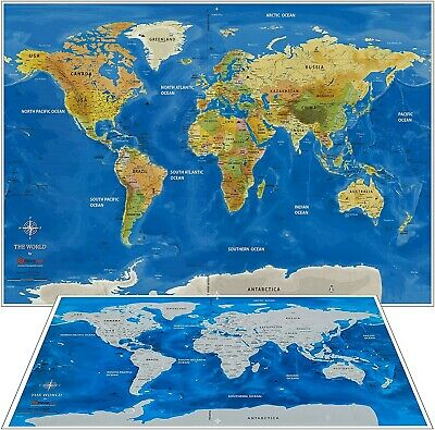 Scratch Off World Map 33x23 In + US Travel Map + 2 Scratch Tools+Free Ship NEW!!