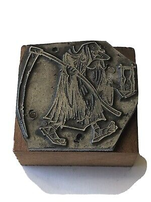 Printing Letterpress Printers Block Father Time With Scythe And Hourglass