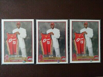 2003-04 Topps LeBron James 3 (three) rookie card lot, ready to grade