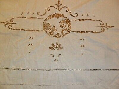 Antique Bed Sheet- Cut Outs of Angels