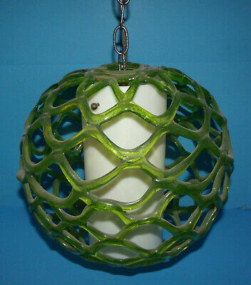 Mid Century Modern Green Lucite Swag Spaghetti Weave Hanging Lamp