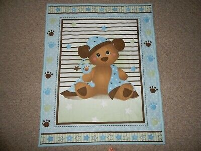 Baby Boy Handquilted Quilt, Bear On Blue Background