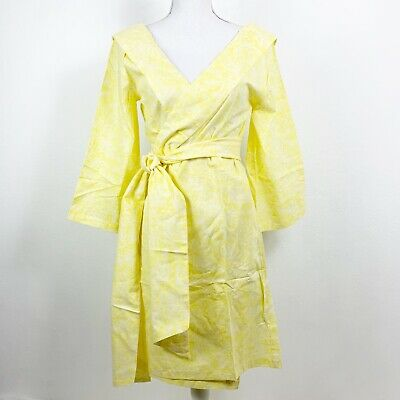Anthropologie Plum Pretty Sugar S Robe 3/4 Sleeve Yellow Knee Length Tie NWOT