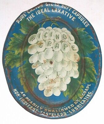 Ricinol Grape EARLY Quack Medicine Laxative Tin Litho Tip Tray NY Ceiling Co