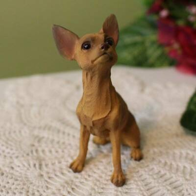 Tan Colored Chihuahua Dog Figurine 3 inch Statue Resin Sitting Down