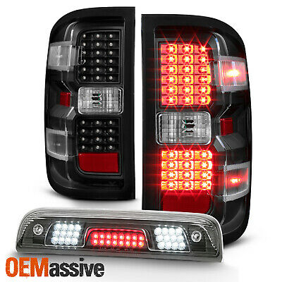 Fit [Black] 2014-2018 Chevy Silverado 1500 LED Tail lights+3rd Brake Cargo Light
