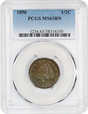 1856 1/2c PCGS MS63 BN - Braided Hair Half Cents (1840-1857)