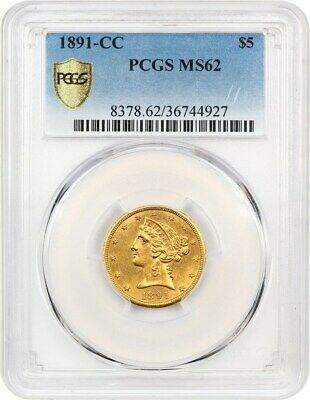1891-CC $5 PCGS MS62 - Popular Carson City Gold Eagle