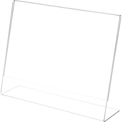 "Plymor Clear Acrylic Sign Display / Literature Holder (Angled), 14"" W x 11"" H"