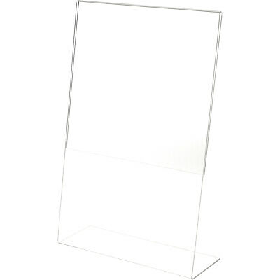 "Plymor Clear Acrylic Sign Display / Literature Holder (Angled), 11"" W x 17"" H"