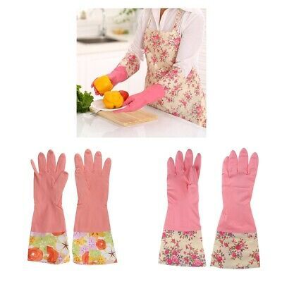 2Pairs Reusable Dishwashing Latex Cleaning Gloves Household Gloves Non-Slip