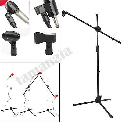 Microphone Stand Adjustable Tripod Boom Mic Stands w/2 Mic Clip Holders Foldable