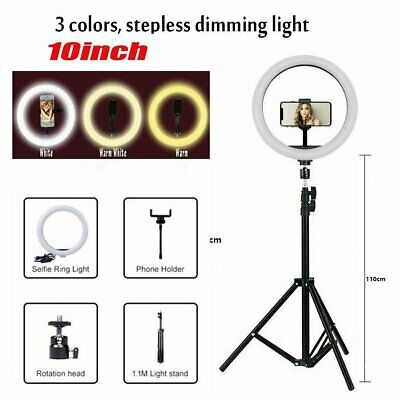 10'' LED Ring Light Tripod + Stand Dimmable for Selfie Video Makeup Youtube Live