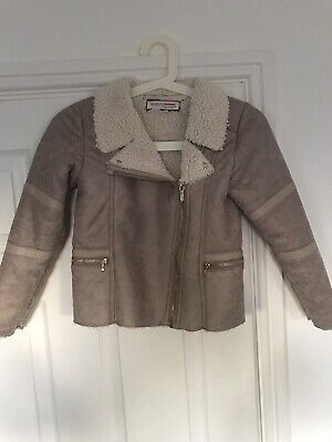 Minoti Girls Suede Coat Jacket With Fleece Lining In Great Condition Age 8-9 Yrs