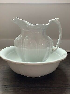 Rare Antique White Royal Ironstone Ware Matching Wash Bowl And Pitcher
