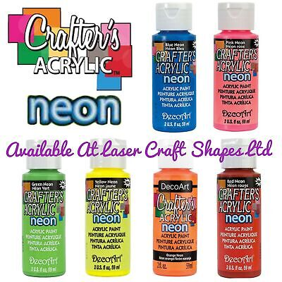 DecoArt Crafters Acrylic Neon Craft Paint 2oz Blue Green Orange Yellow Pink Red