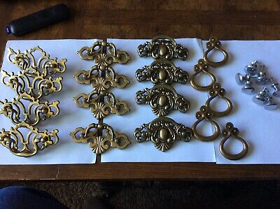 Vintage Mixed Lot Drawer Pulls Handles Brass Ornate 24 pieces
