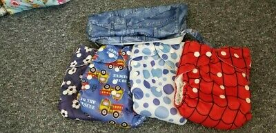 4 Simply reusable nappies - Size 1 with boosters