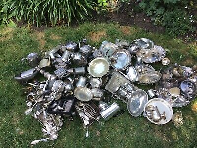 Huge job lot Mostly silverplate silver plate wit some of them mixed metals