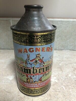 Wagner's Gambrinus Beer 12oz Cone Top Beer Can. Great Graphic's, Bold Colors!