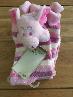 Brand New Pink And White Cosy Novelty Socks By Marks And Spencer