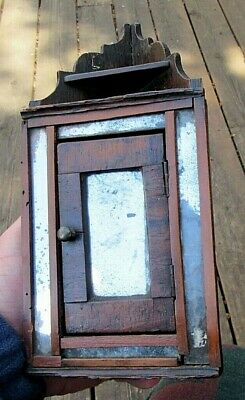 ANTIQUE ca. 1810 FOLK ART SMALL MIRROR MINIATURE CORNER SHELF CUPBOARD FURNITURE
