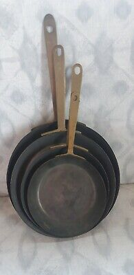 Vintage Set Of 4 Copper Frying pans Brass Handles Metalware Collectable Kitchen