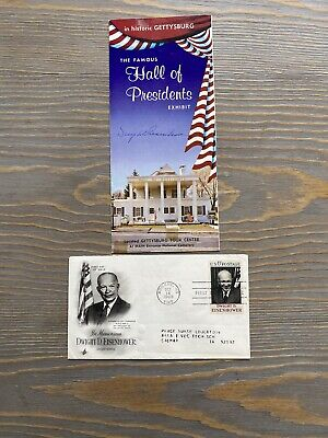 5 Star General President Dwight D. Eisenhower Signed Gettysburg Paper And Stamp